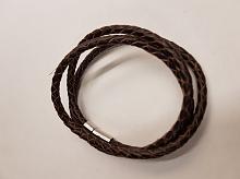 Браслет плетеный кожаный черный