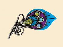 """Набор для вышивания арт.АС-1340 Брошь """"Перо Павлина"""" 5х11 см"""
