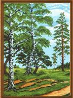 """Рисунок на канве 37х49см арт.590 """"Русские березы"""""""