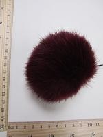 Помпон из меха кролика, бордовый, 90 мм.