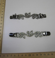 Застежка на кардиган, 122х28 мм, темный никель