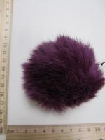 Помпон из меха кролика, сливовый, 90 мм.