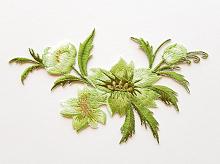 Термоаппликация букет цветов зеленый, 7.5 х 13 см