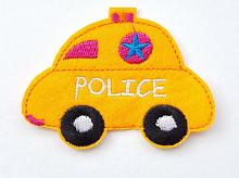 "Термоаппликация машинка ""POLICE"" оранжевая, 7.8 х 6 см"