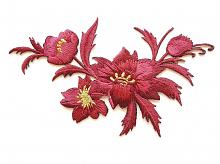 Термоаппликация букет цветов вишневый, 7.5 х 13 см