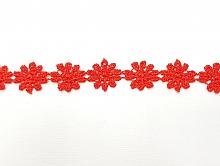 Кружево 10мм ромашки красные