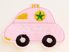"Термоаппликация машинка ""POLICE"" розовая, 7.8 х 6 см"