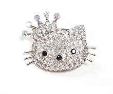 Брошка-застежка кошечка Китти со стразами