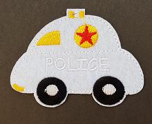 "Термоаппликация машинка ""POLICE"" белая, 7.8 х 6 см"