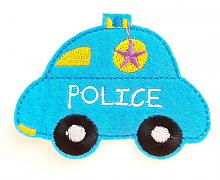 """Термоаппликация машинка """"POLICE"""" голубая, 7.8 х 6 см"""