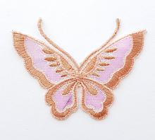 Термоаппликация бабочка бежевая с блестками, 9 х 7 см
