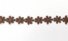 Кружево 10мм ромашки коричневые