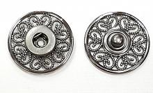 Кнопка пришивная металлическая ажурная темный никель, 24 мм