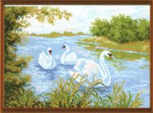 "Рисунок на канве 37х49см арт.715 ""Лебединое озеро"""