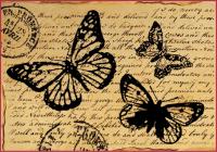 """Бумага рисовая мини - формат """"Бабочки на старинном письме"""""""