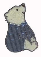 Термоаппликация  белый мишка, 5,6 х 3,3 см