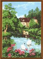 "Рисунок на канве 37х49см арт.741 ""Дом у озера"""