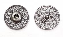 Кнопка пришивная металлическая ажурная темный никель, 26 мм