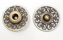 Кнопка пришивная металлическая ажурная бронза, 26 мм