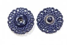 Кнопка пришивная металлическая ажурная синия, 21 мм