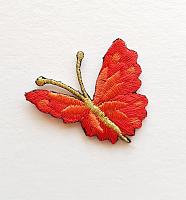 Термоаппликация бабочка бордовая с золотыми усиками, 35 х 33 мм