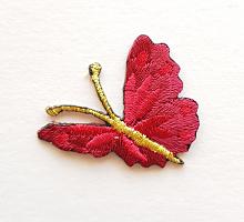 Термоаппликация бабочка вишневая с золотыми усиками, 35 х 33 мм