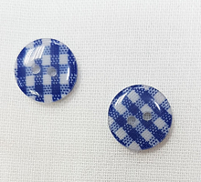 Пуговица на прокол синяя клеточка, 12 мм