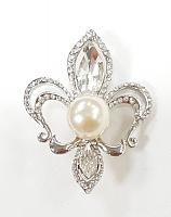 Брошка-застежка цветок серебро с жемчугом и стразами