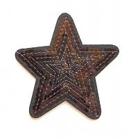 Термоаппликация звезда черная с пайетками, 7.5 х 7.5 см
