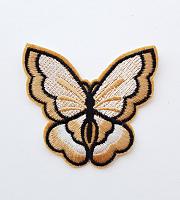 Термоаппликация бабочка бежевая, 73 х 67 мм