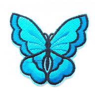Термоаппликация бабочка бирюзовая, 73 х 67 мм