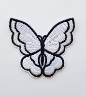 Термоаппликация бабочка белая, 73 х 67 мм