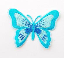 Термоаппликация бабочка голубая, 75 х 55 мм
