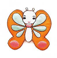 Термоаппликация бабочка оранжевая, 6.5 х 6 см
