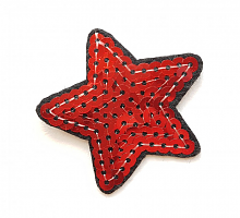 Термоаппликация звезда красная с пайетками, 8 х 4 см