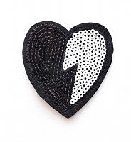 Термоаппликация сердце черно-белое с пайетками, 5.5 х 6 см