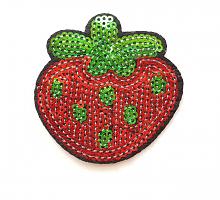 Термоаппликация ягода с пайетками, 8 х 4 см