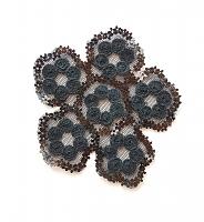 Декоративный элемент цветок с пайетками черный, 9 х 9 см