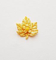Декоративный элемент пришивной листок желтый, 30 х 27 мм
