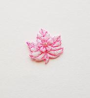 Декоративный элемент пришивной листок розовый, 30 х 27 мм