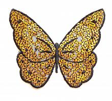 Декоративный элемент бабочка с пайетками золото/черная, 13.5 х 10.5 см