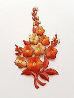 Термоаппликация букет цветов оранжевый, 7.5 х 12.5 см