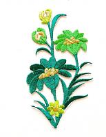 Термоаппликация букет цветов зеленый, 10.5 х 6 см