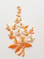 Термоаппликация букет цветов персиковый, 7.5 х 12.5 см