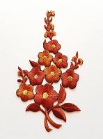 Термоаппликация букет цветов кирпичный, 7.5 х 12.5 см