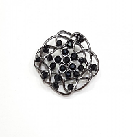 Пуговица на ножке цветок т.никель с камнями, 30 мм