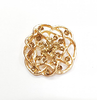 Пуговица на ножке цветок золотой с камнями, 37 мм