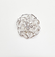 Пуговица на ножке цветок серебро с камнями, 37 мм