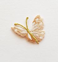 Термоаппликация бабочка бежевая с золотыми усиками, 35 х 33 мм