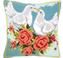 """Подушка """"Влюблённые голуби"""" набор для вышивания"""